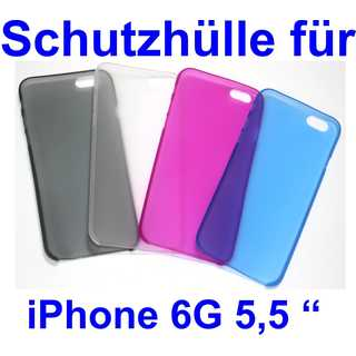 0.3mm Ultra Slim Case Matte Frosted Transparent Clear Case Soft TPU Cover Case for iPhone  6 5,5 inch Schwarz