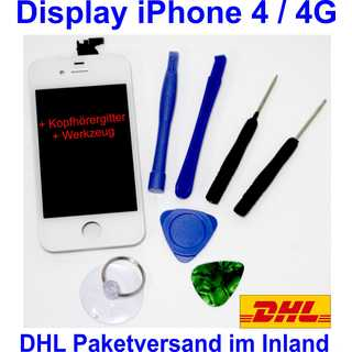 iPhone 4 4G Retina LCD + Touchscreen Display Glas Front SET White Weiß NEU
