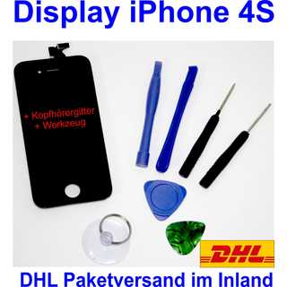 iPhone 4S Retina LCD + Touchscreen Display Glas Front SET Black Schwarz NEU