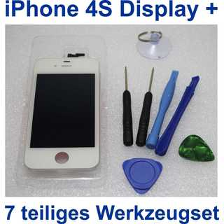 iPhone 4S Retina LCD + Touchscreen Display Glas Front SET Weiß White NEU